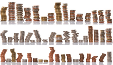 stacks of coin isolated on white background, financial concept Stock Photo - 9463566