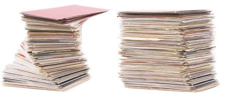 Business administration: el mont�n de la vieja tarjeta de presentaci�n sobre fondo blanco