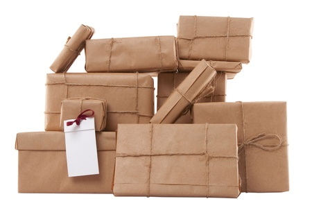 gift boxes with blank label on white background Stock Photo