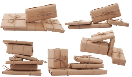 gift box arranged in different shape on white background Stock Photo - 9463579