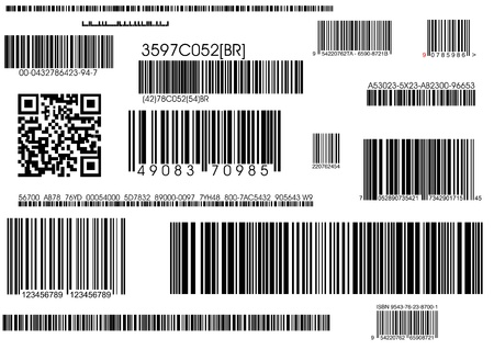 barcode scanning: a lot of types standard barcodes and shipping barcode  Stock Photo
