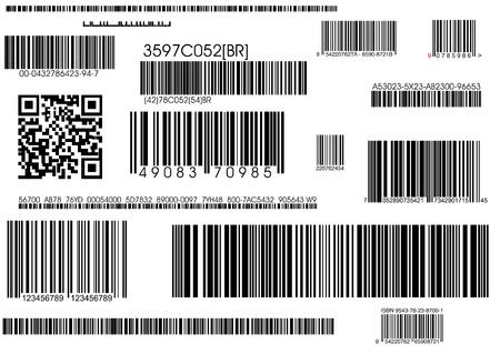 codigos de barra: un mont�n de c�digos de barras est�ndar de tipos y c�digo de barras de navegaci�n  Foto de archivo