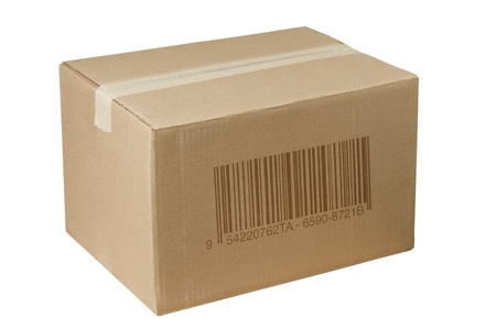 isolated closed shipping cardboard box whit barcode photo
