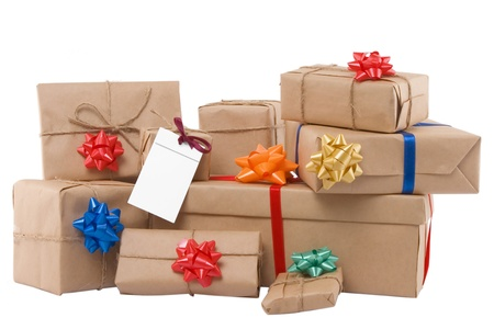 gift boxes with ribbon and blank label on white background Stock Photo - 9724977