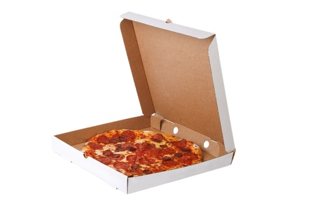 Fresh pizza in plain open box isolated on white background, Delivered fast food concept photo