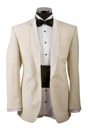 beige tuxedo, white shirt and black bow tie