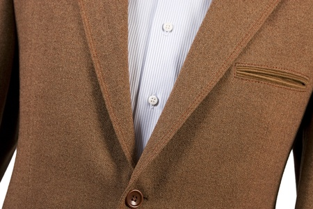formal clothes: brown suit detail and striped blue shirt Stock Photo