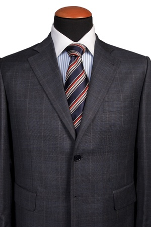 Detail of a suit and a tie isolated on white background photo