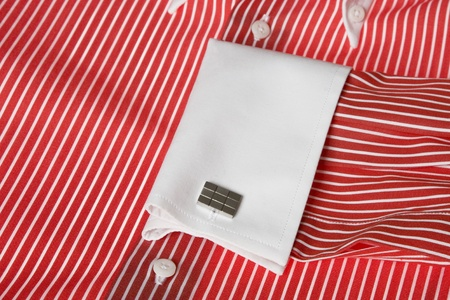 Close-up of cuff link on men's red shirt  Stock Photo - 9725009