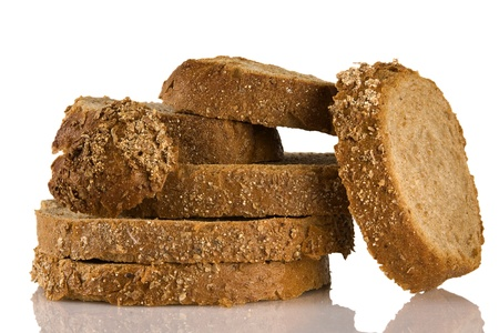 sliced brown bread, isolated on white background photo