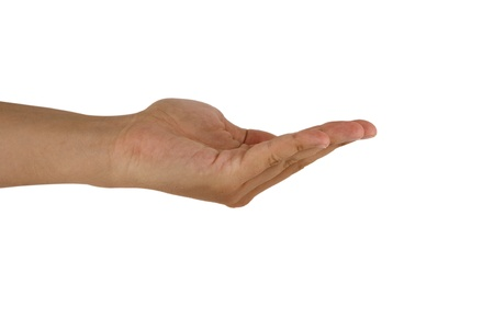 reaching up: gesture of man hand open hand isolated on white background