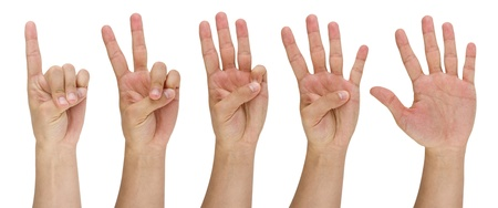 image of a mans finger pointing from one to five photo