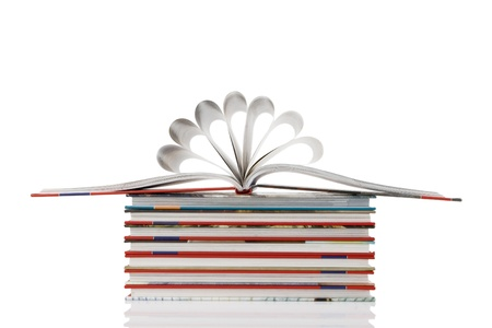 book pages folded into a flower shape on white background photo