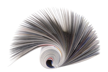 daily newspaper: front view of magazine Roll isolated on white Stock Photo