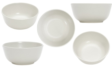 empty bowl: five point of view of empty bowl on white background Stock Photo