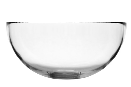 crystal bowl: empty clear salad bowl on white background