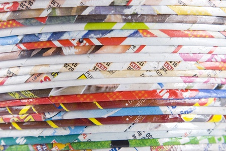 magazine stack: stack of rolled paper, concept of recycling