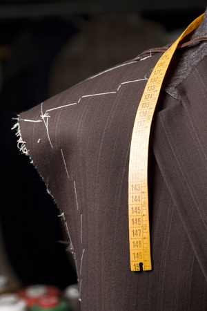 tailor suit: detail of tailors mannequin a Work in progres