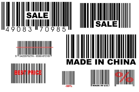 fake bar codes on white background photo