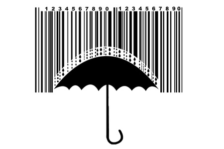fall protection: Umbrella and barcode, protection for high price Stock Photo