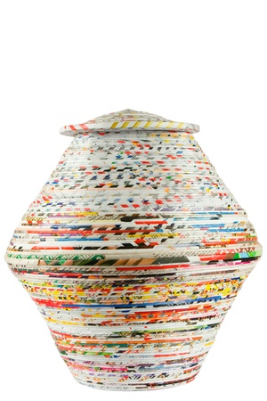 paper basket: colored basket made from recycled paper on white background Stock Photo