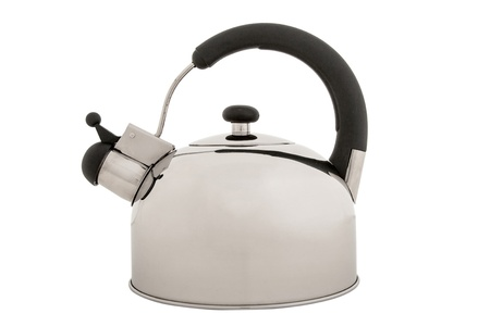 Tea kettle isolated on white background, metal teapot photo