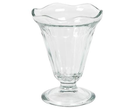 edge of the ice: Empty glass ice cream dish isolated on white background