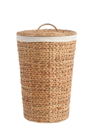 rattan: Isolated on white laundry basket made of rattan