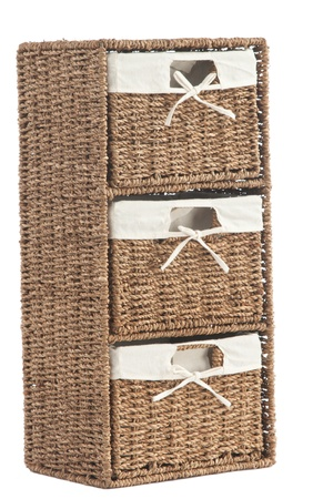 durable: Isolated on white laundry basket made of rattan
