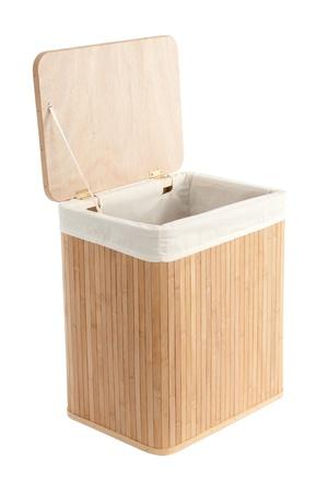hamper: Isolated on white laundry basket made of bamboo