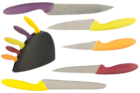 set of knives for the kitchen isolated on a white background  photo