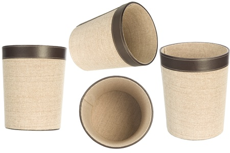 wastepaper basket: four point of view from empty wastepaper basket isolated over white background, trash bin