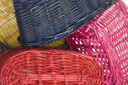 isolated on white woven straw baskets photo