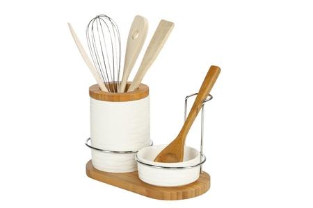 stainless steel kitchen: Kitchen Tools, wooden cutlery in ceramic pot