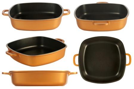 utensilios de cocina: cinco puntos de vista de los utensilios de cocina de hierro fundido olla, sartén antiadherente, aislado en blanco