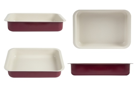 oven tray: New red nonstick coating roasting pan isolated on white, oven tray