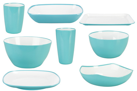 Blue plastic tableware isolated on white background photo