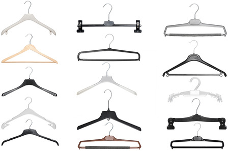 various hangers for shirt,coat and pants isolated on white background photo