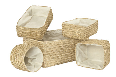 twining: Various braided bamboo baskets with inner cotton fabric isolated on white Stock Photo