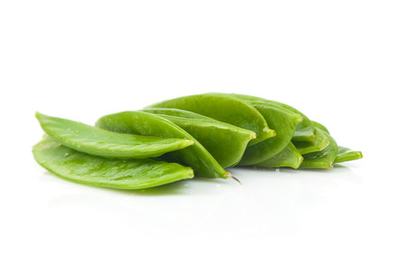 bush bean: Fresh Flat Green Beans On White Background Stock Photo