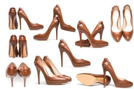 Different point of view-elegant high heel shoes on white background. Brown footwear photo