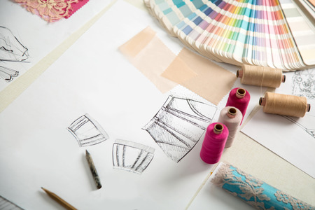 textile designer: fashion designers, working in progress on tailor table