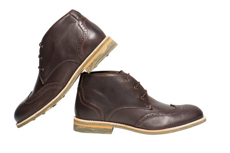 chamois leather: Men Brown Shoes on white background