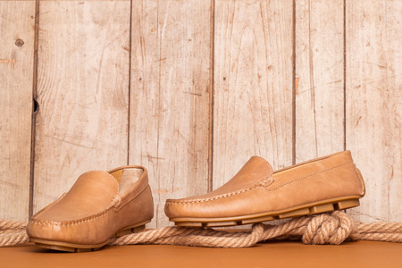 loafer: Mens Loafer Shoe on old wood background