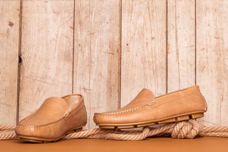 men's clothing: Mens Loafer Shoe on old wood background