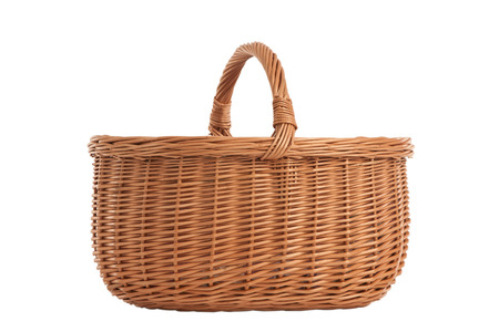 twining: Braided basket wooden handles isolated on white background