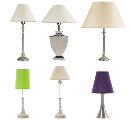 lamp light: different table lamps on white bckground