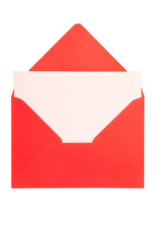 letter envelope: opened red envelope isolated on white background