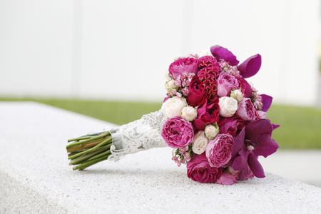 pink wedding: colorful flower wedding bouquet for bride