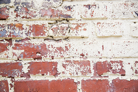 wall bricks: Background of old vintage dirty brick wall with peeling plaster, texture